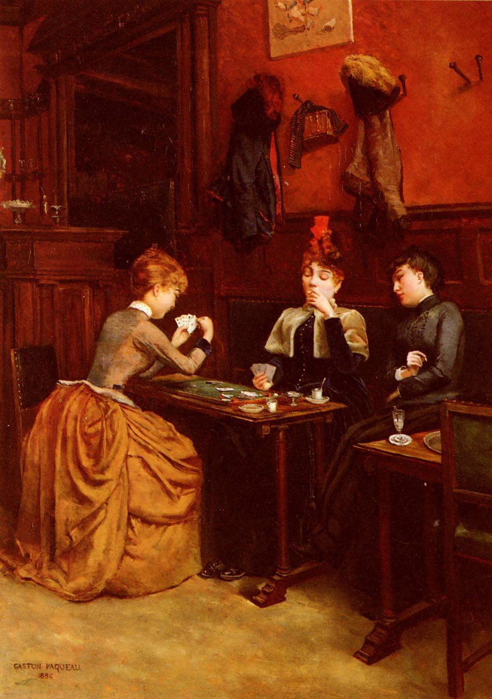 Parisiennes Au Cafe | Gaston Paqueau | Oil Painting