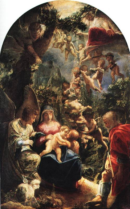 The Holy Family with Angels and the Infant John the Baptist 1599 | Adam Elsheimer | Oil Painting