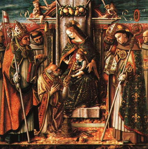The Virgin and Child Enthroned with the Presentation of the Keys to St Peter and Six Saints 1488 | Carlo Crivelli | Oil Painting
