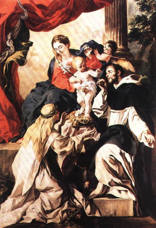 The Virgin and Child Entroned with St Dominic and St Catherine of Sienna 1680 2 | Francesco Solimena | Oil Painting