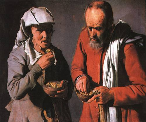 Old Peasant Couple Eating 1620 | Georges de La Tour | Oil Painting