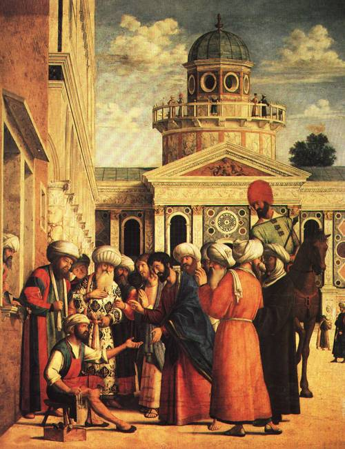 St Mark Healing the Cobbler Anianus 1499 | Giovanni Battista da Conegliano called Cima | Oil Painting