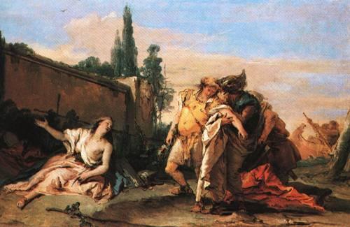 Rinaldo and Armida in Armida s Magic Garden Overheard by Carlo and Ubaldo Rinaldo Bidding Armida Farewell | Giovanni Battista Tiepolo | Oil Painting