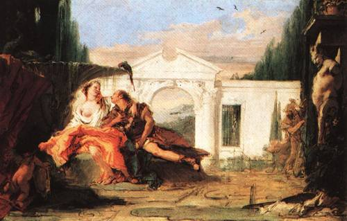 Rinaldo and Armida in Armidas Magic Garden Overheard by Carlo and Ubaldo Rinaldo Bidding Armida Farewel 1l | Giovanni Battista Tiepolo | Oil Painting