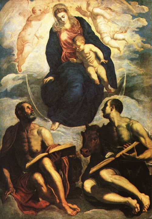 The Virgin and Child Adored by the Evangelists St Mark and St Luke 1570 5 | Jacopo Robusti called Tintoretto | Oil Painting