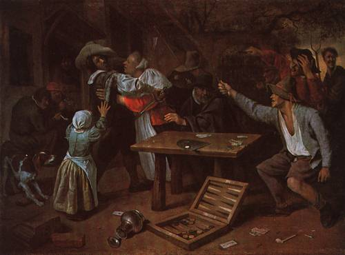 Men Quarrelling over Cards 1664 5 | Jan Steen | Oil Painting