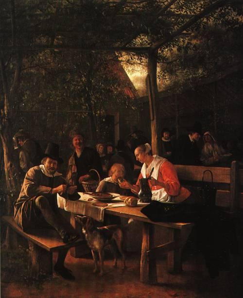 The Garden of an Inn 1660   Jan Steen   Oil Painting