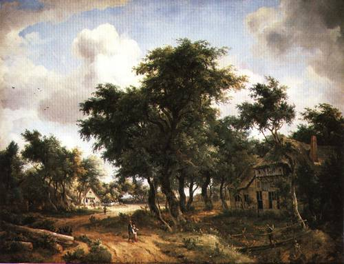 Village Road under Trees 1665 | Meindert Hobbema | Oil Painting