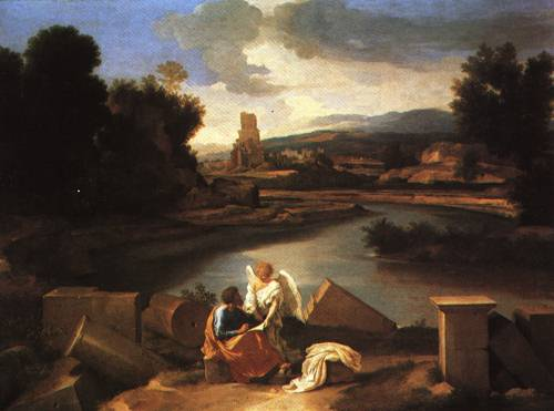 Landscape with the Evangelist St Matthew 1640 | Nicolas Poussin | Oil Painting