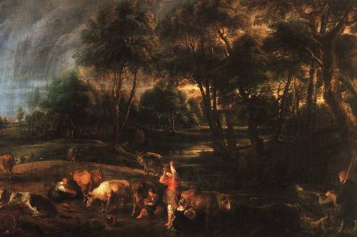 Landscape with Cows and Duck Hunters 1635 8 | Peter Paul Rubens | Oil Painting