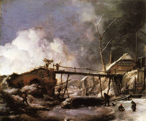 Winter Landscape with Wooden Bridge 1660 | Philips Wouwerman | Oil Painting
