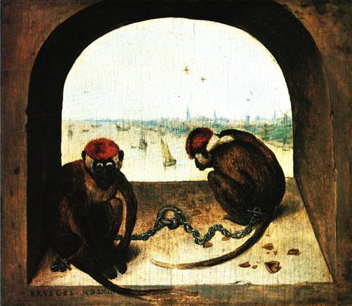 Two Chained Monkeys 1562 | Pieter Bruegel the Elder | Oil Painting