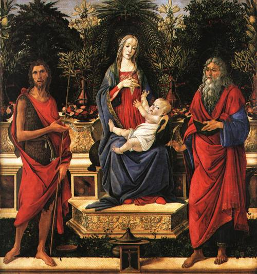 The Virgin and Child Enthroned with the Two John 1484 | Sandro di Mariano Filipepi called Botticelli | Oil Painting