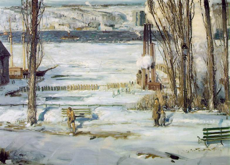 A Morning Snow Hudson River 1910 | George Bellows | Oil Painting