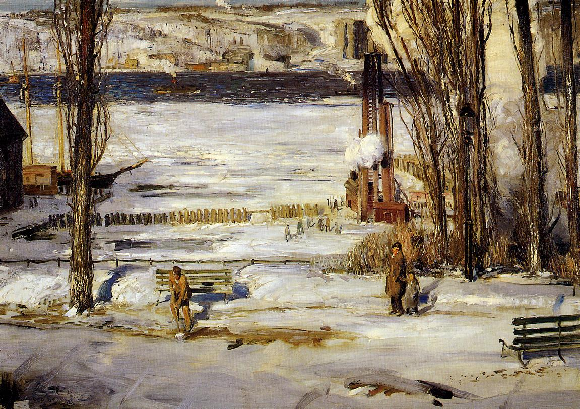 A Morning Snow - Hudson River  1910 | George Bellows | Oil Painting
