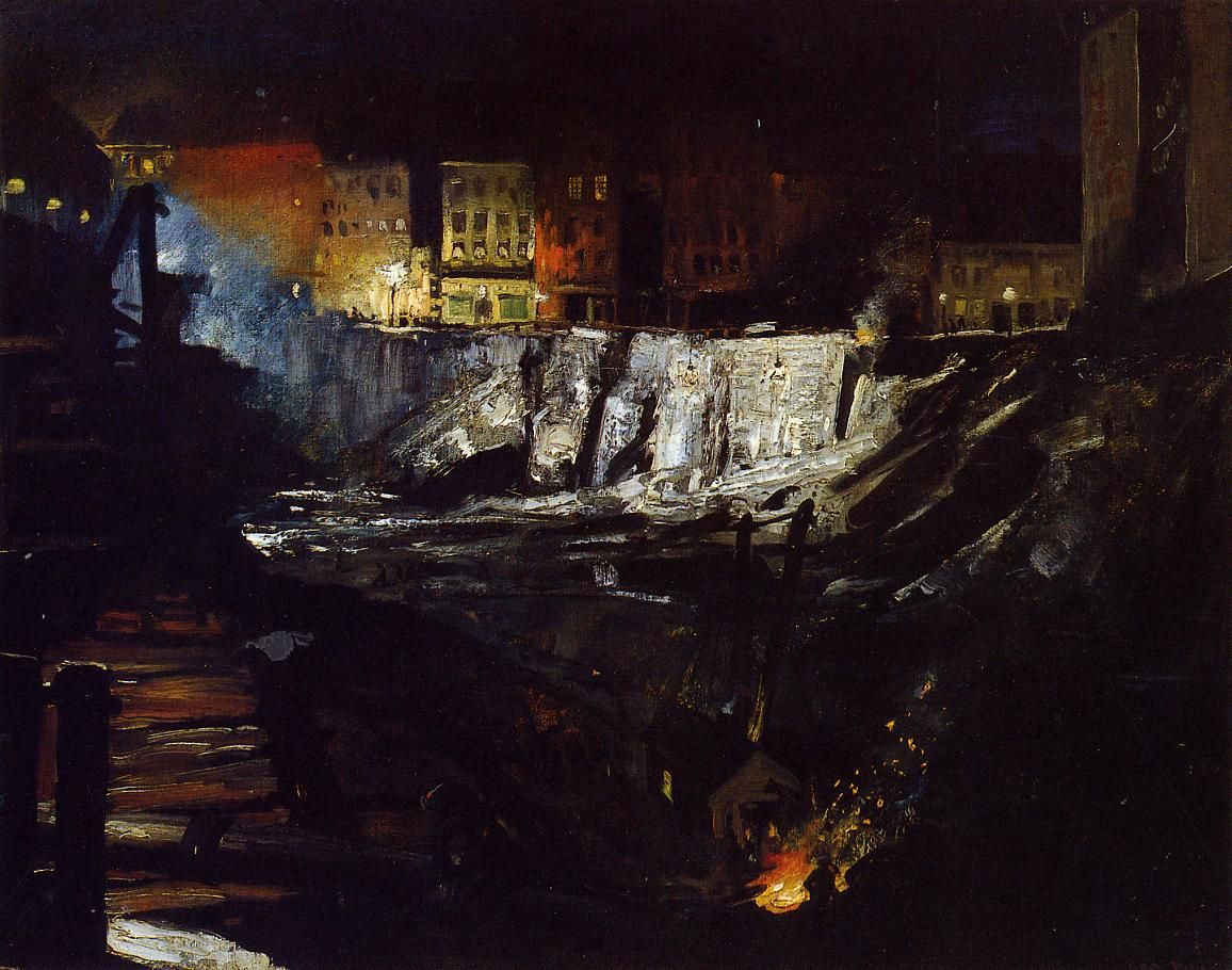 Excavation at Night 1908 | George Bellows | Oil Painting