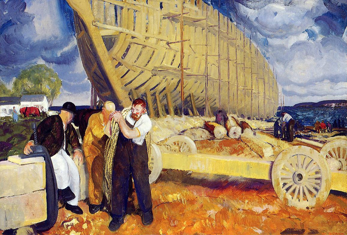 The Rope (aka Builders of Ships) 1916 | George Bellows | Oil Painting