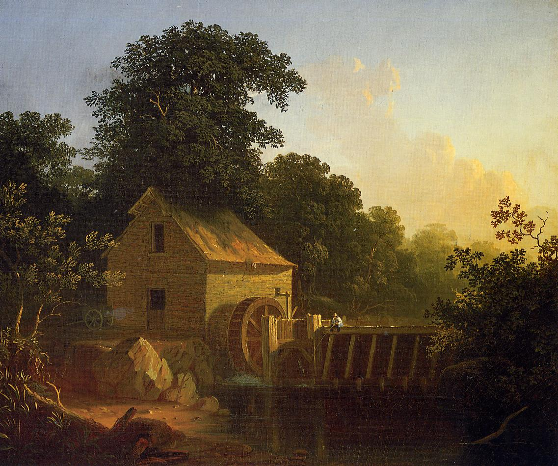 Landscape with Waterwheel and Boy Fishing 1853 | George Caleb Bingham | Oil Painting