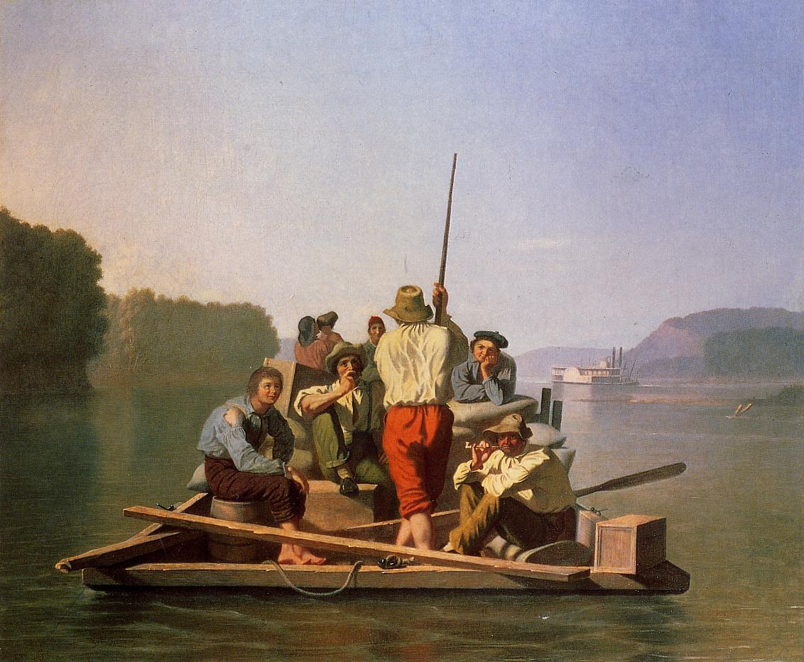 Lighter Relieving the Steamboat Aground 1846-1847 | George Caleb Bingham | Oil Painting