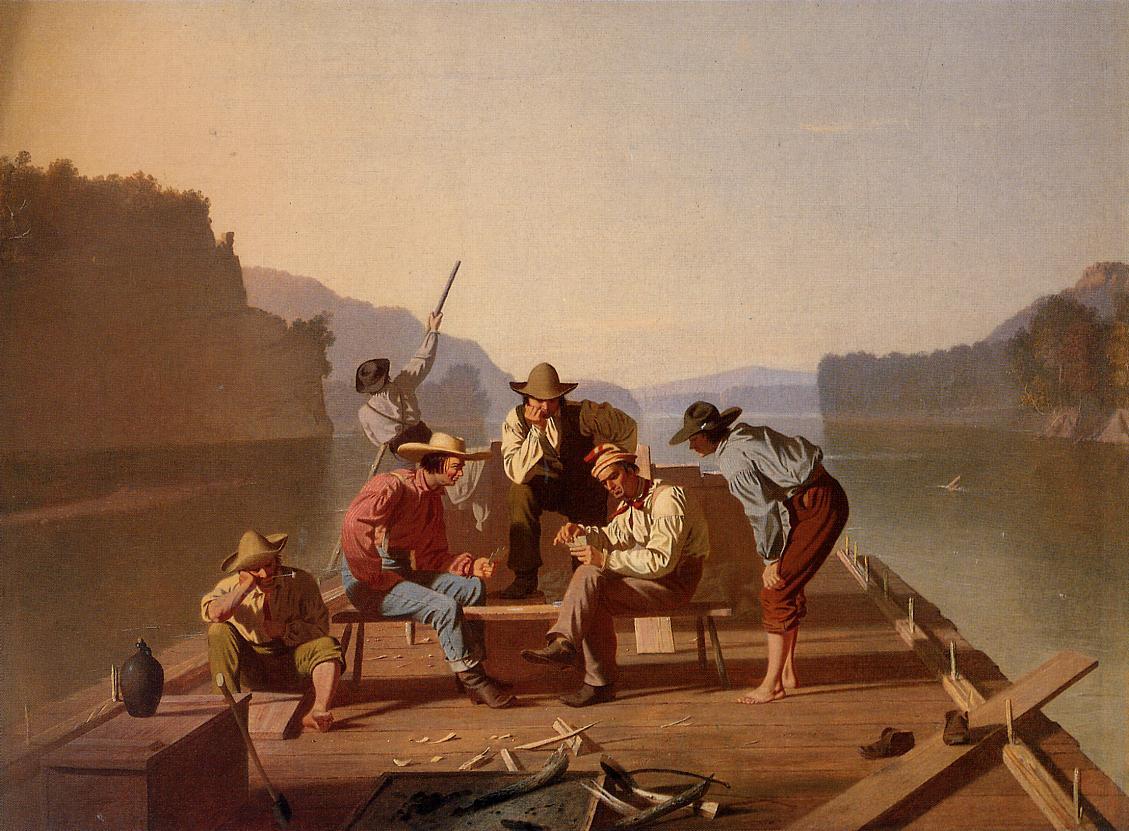Raftsmen Playing Cards 1847 | George Caleb Bingham | Oil Painting