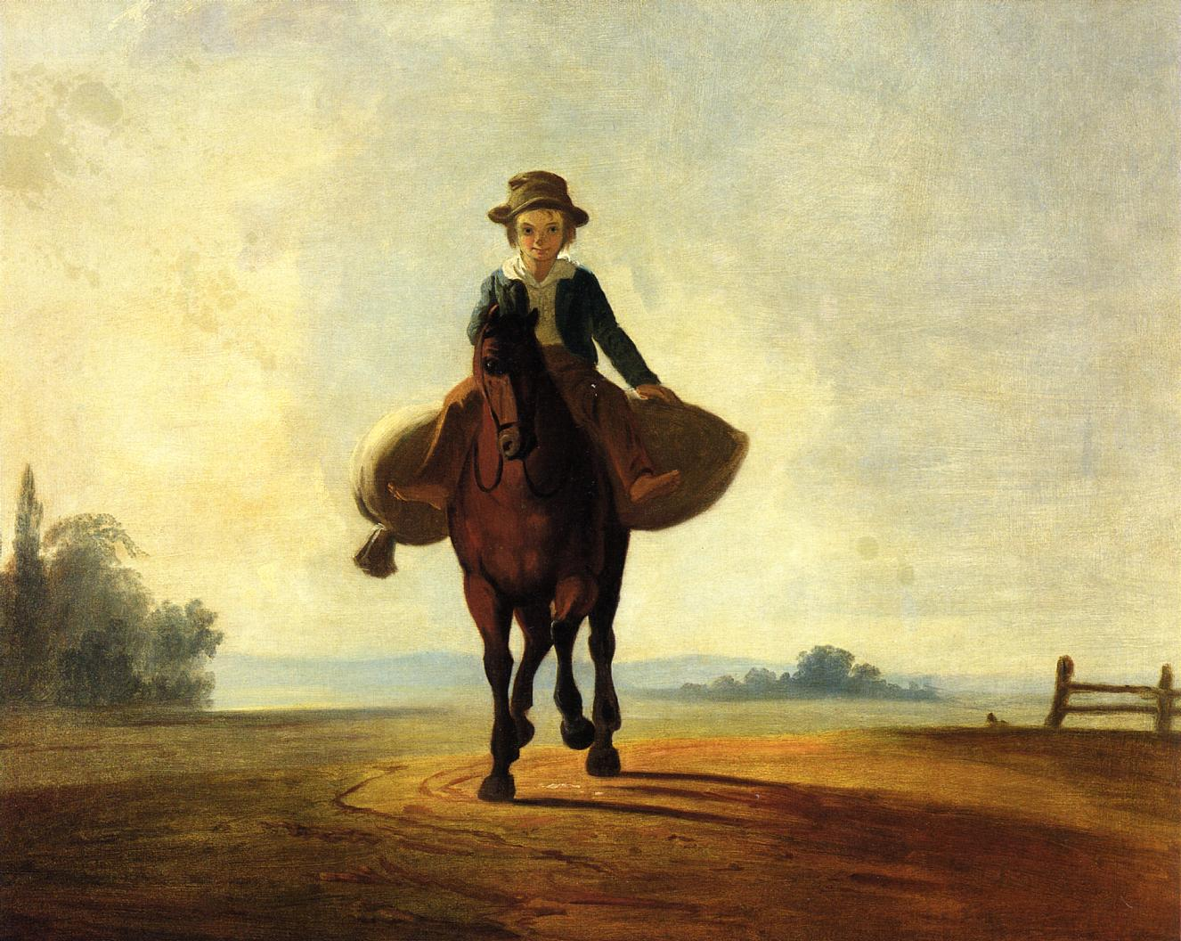 The Mill Boy The Boonville Juvenile Clay Club Banner 1844   George Caleb Bingham   Oil Painting