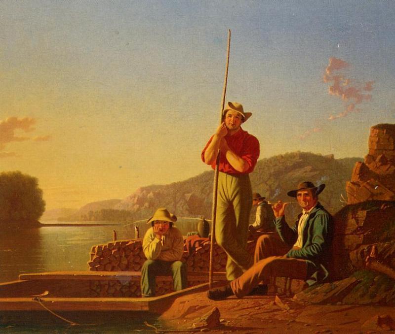 The Wood Boat 1850   George Caleb Bingham   Oil Painting