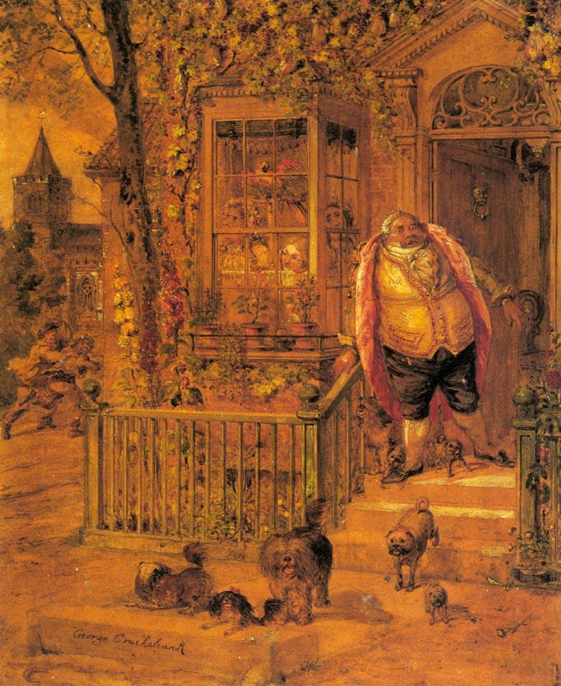 A Runaway Knock   George Cruikshank   Oil Painting