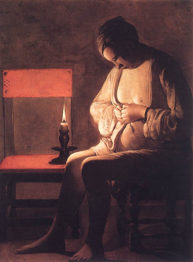 Woman Catching Fleas 1630s | Georges De La Tour | Oil Painting