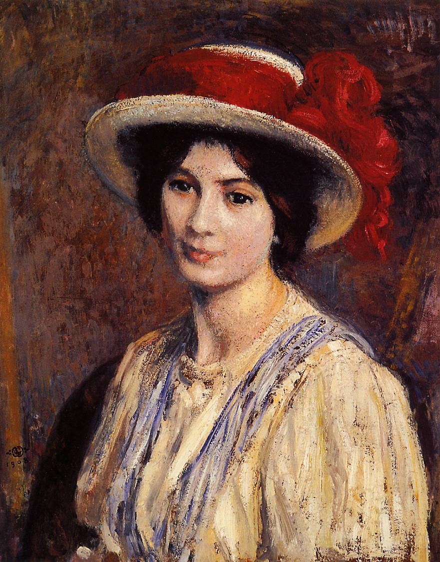 Hat with a Red Ribbon 1908 | Georges Lemmen | Oil Painting