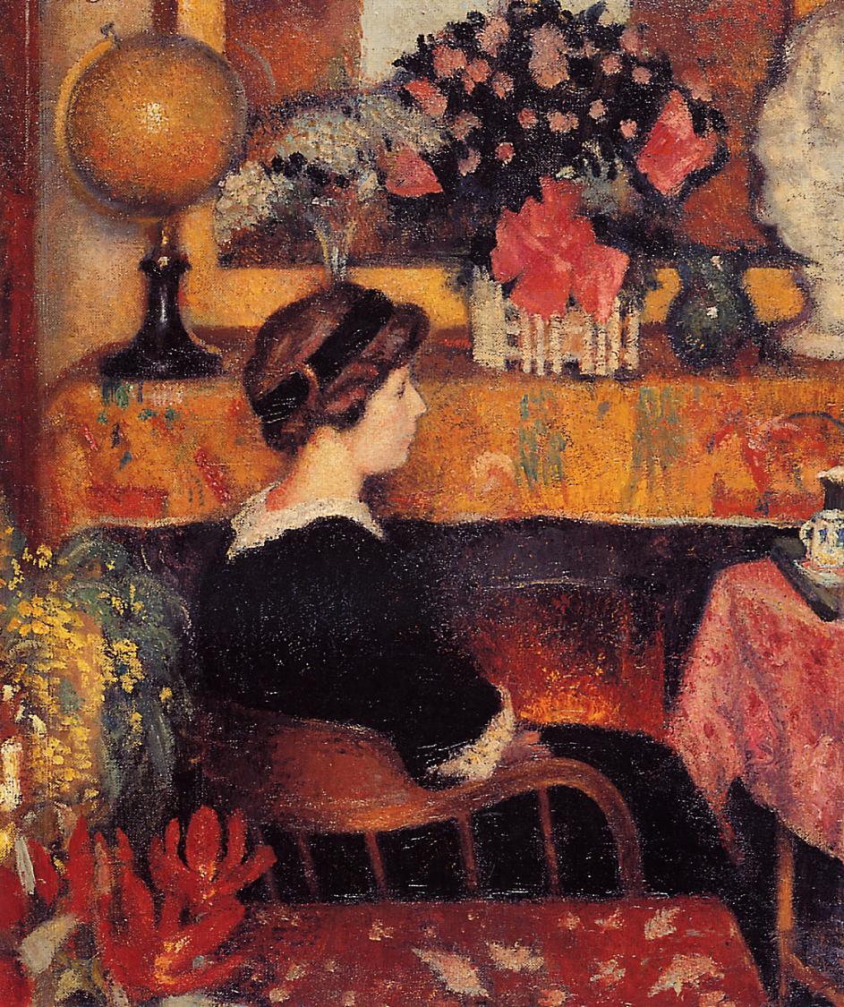 Madame Lemmen in a Flowery Interior 1913 | Georges Lemmen | Oil Painting