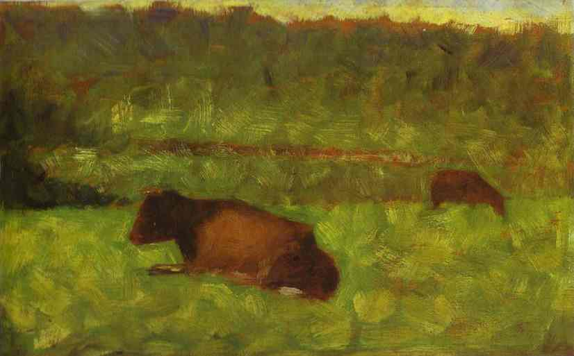 Cows In A Gield 1882 | Georges Seurat | Oil Painting