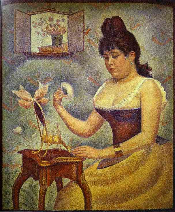 Young Woman Powdering Herself 1888-1890 | Georges Seurat | Oil Painting