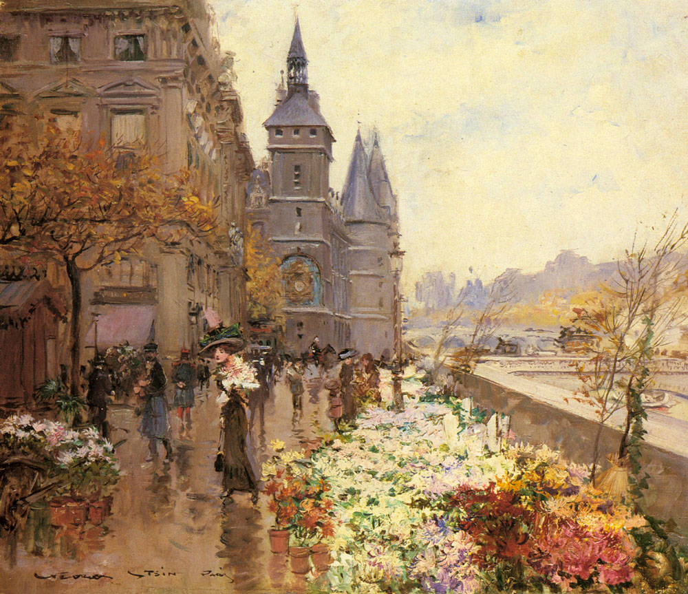 A Flower Market Along The Seine | Georges Stein | Oil Painting