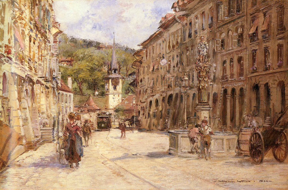 A Street Scene In Bern | Georges Stein | Oil Painting