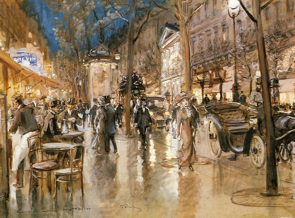Evening On A Parisian Boulevard | Georges Stein | Oil Painting