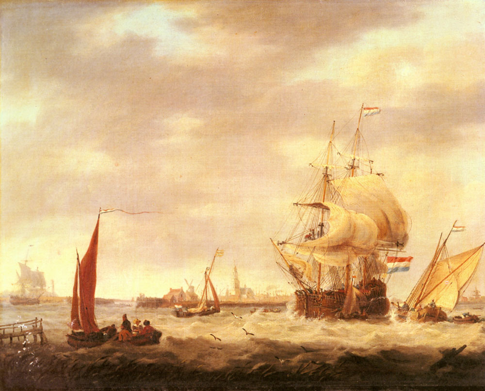 Merchant Ship and Fishing Vessels off the Dutch Coast | George Webster | Oil Painting