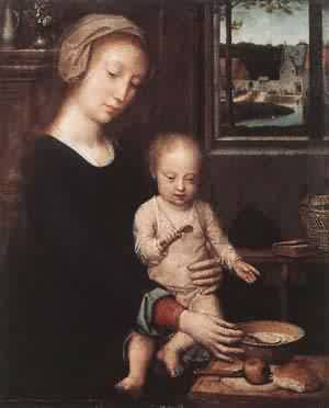 Madonna And Child With The Milk Soup 1520 | Gerard David | Oil Painting