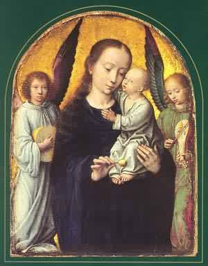 Mary And Child With Two Angels Making Music | Gerard David | Oil Painting