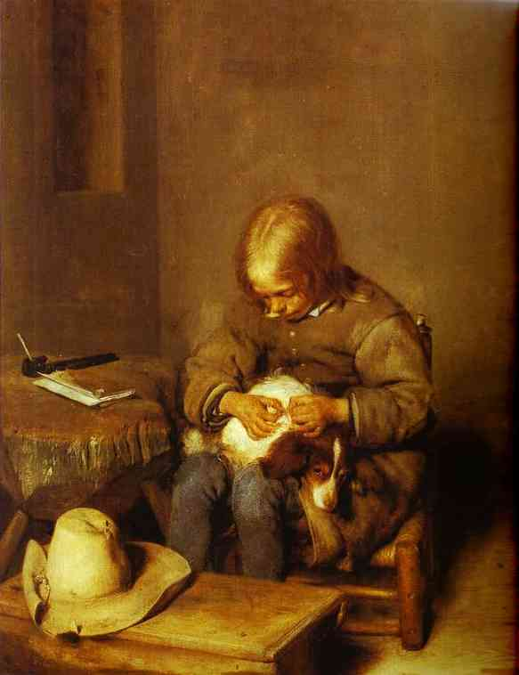 A Boy Ridding His Dog Of Fleas 1665 | Gerard Terborch | Oil Painting