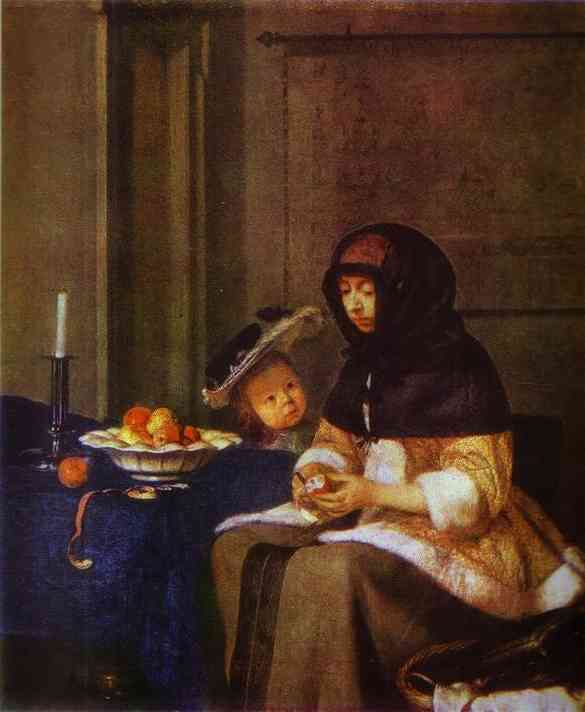 Lady Peeling An Apple 1661 | Gerard Terborch | Oil Painting
