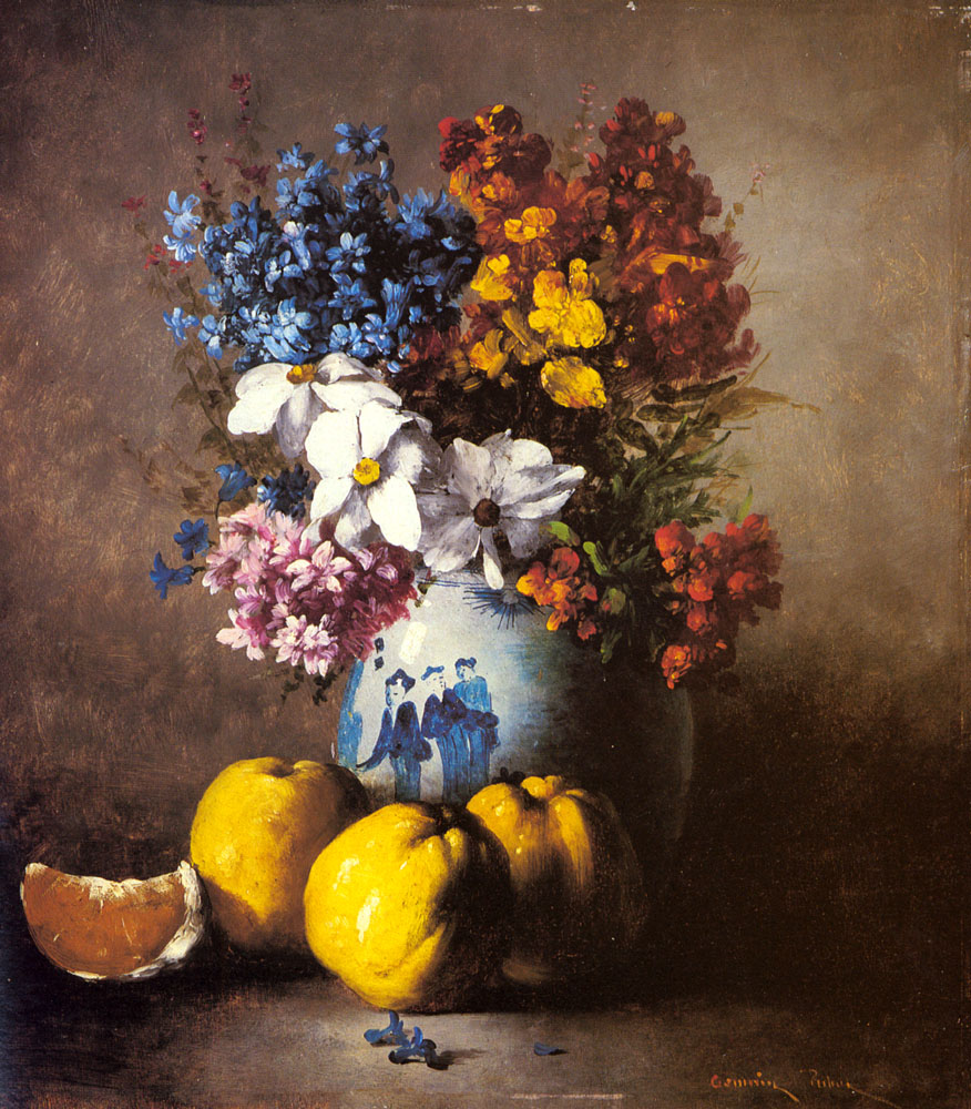 A Still Life With A Vase Of Flowers | Germain Theodule Clement Ribot | Oil Painting