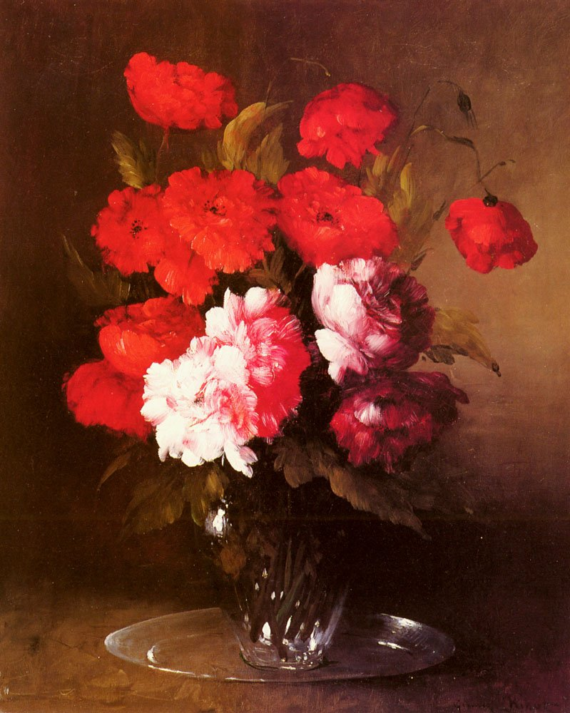 Pink Peonies And Poppies In A Glass V | Germain Theodule Clement Ribot | Oil Painting