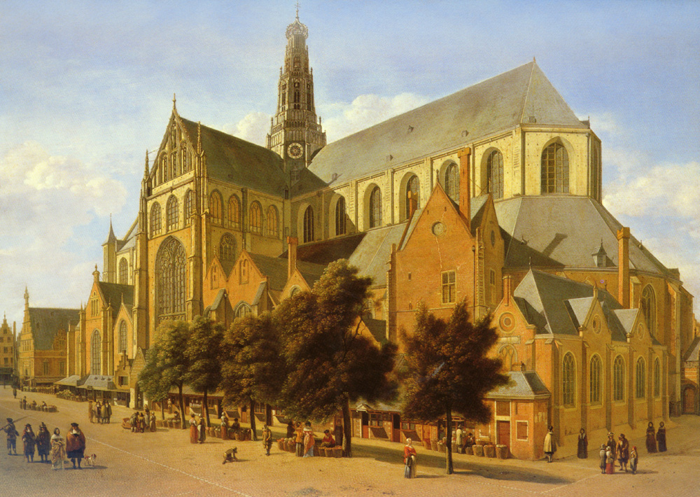 The Exterior Of The Church Of St Bavo in Harlem | Gerrit Berckheyde | Oil Painting
