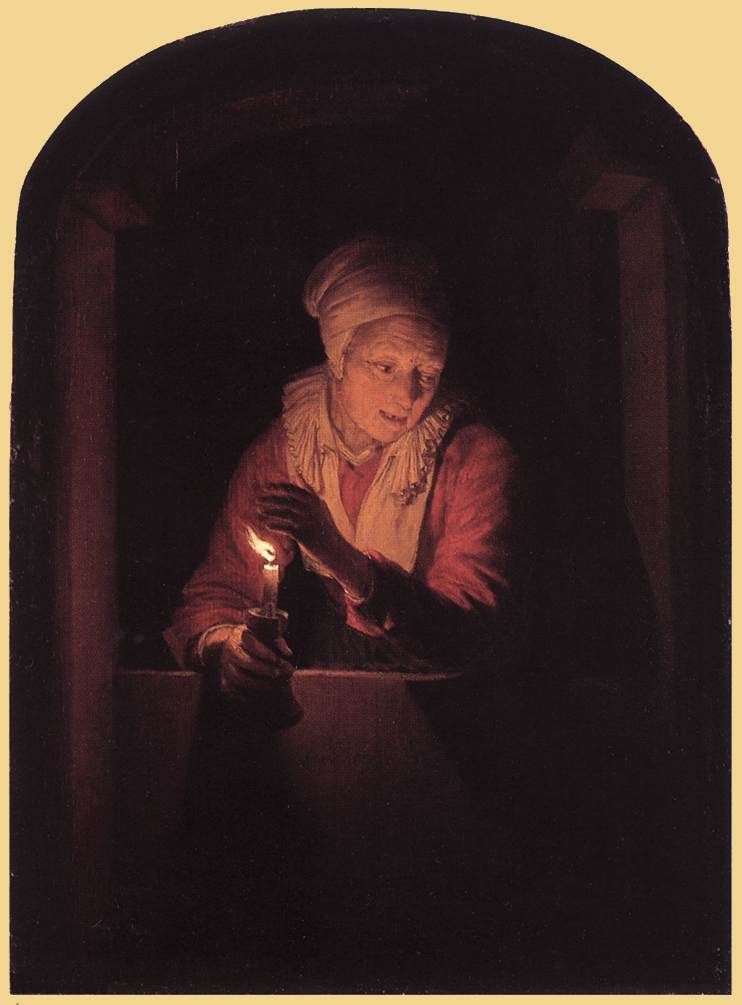 Old Woman With A Candle 1661 | Gerrit Dou | Oil Painting