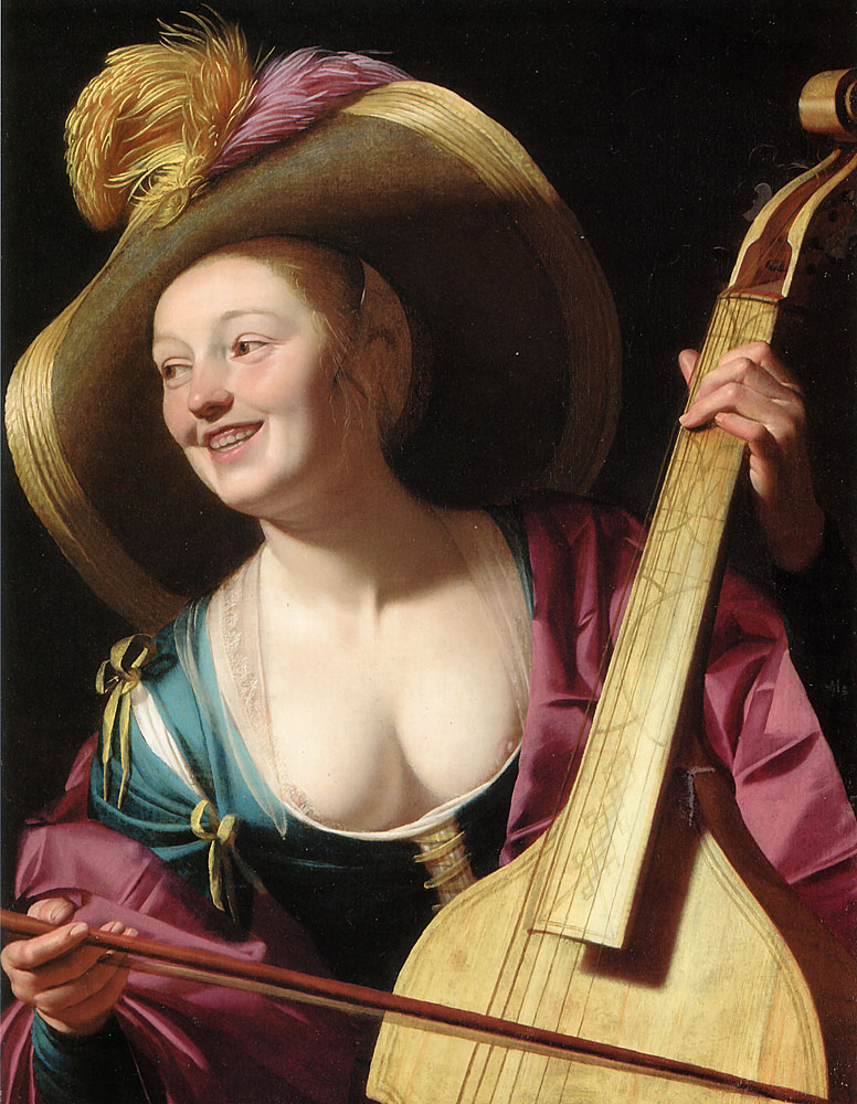 A Young Woman Playing a Viola da Gamba | Gerrit Van Honthorst | Oil Painting