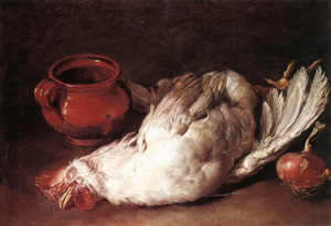 Still Life With Hen Onion And Pot 1750s | Giacomo Ceruti | Oil Painting