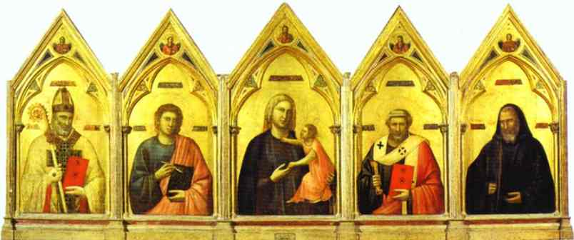 Madonna And Child With St Nicholas St John The Evangelist St Peter And St Benedict 1300 | Giotto | Oil Painting