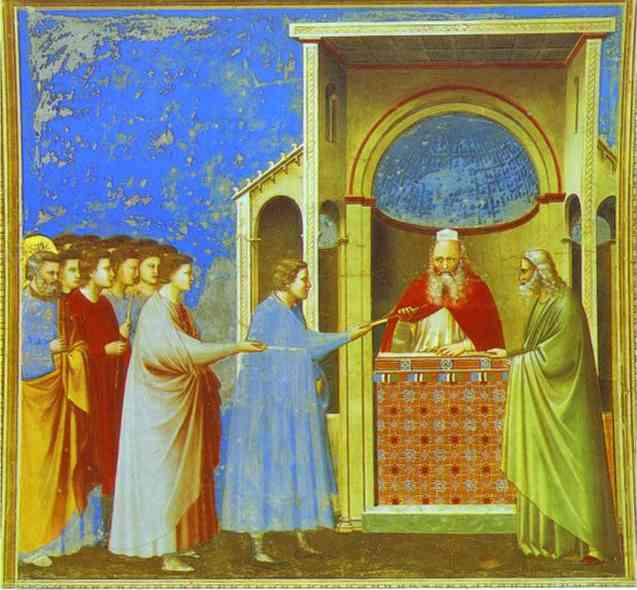 The Bringing Of The Rods 1302-1305 | Giotto | Oil Painting