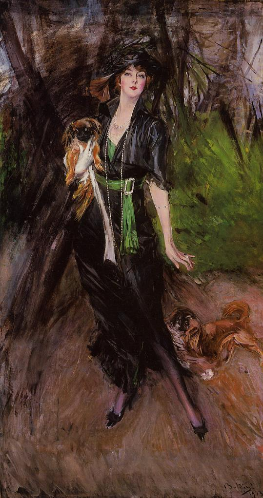 Portrait of a Lady Lina Bilitis with Two Pekinese 1913 | Giovanni Boldini | Oil Painting