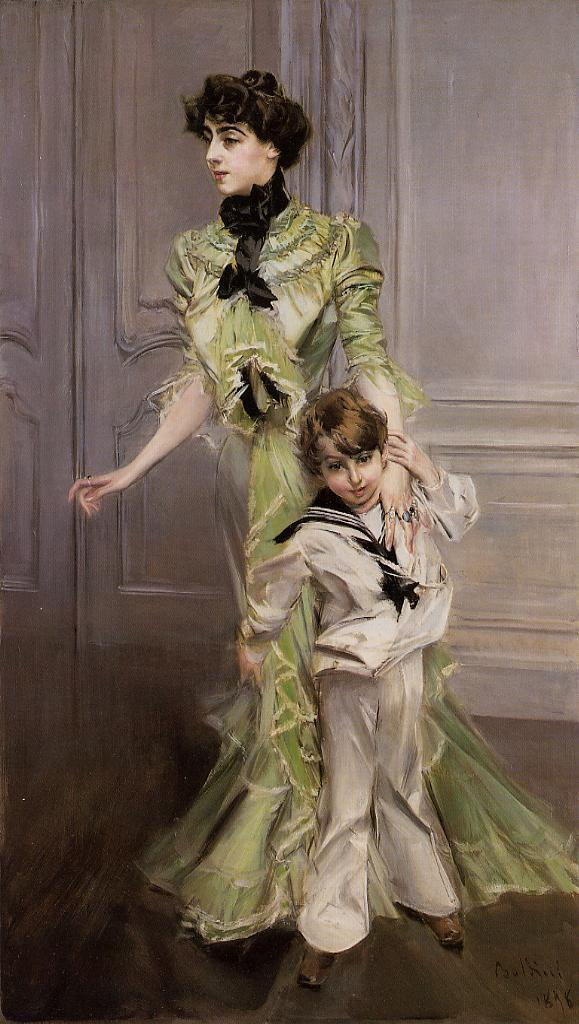 Portrait of Madame Georges Hugo (nee Pauleen Menard-Dozian) and Her Son Jean 1898 | Giovanni Boldini | Oil Painting